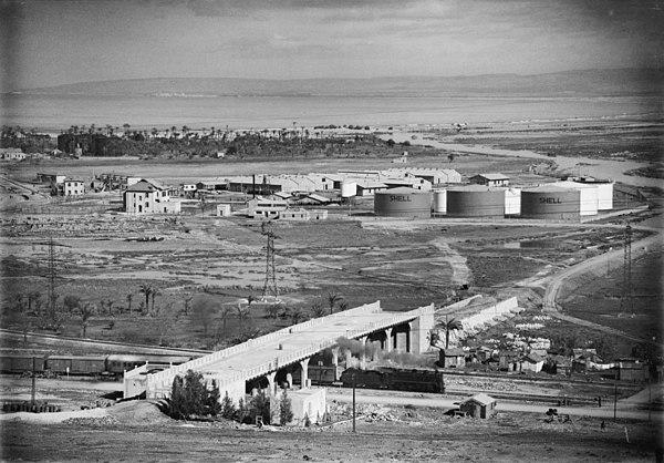 Shells oljelager i Haifa, Palestina