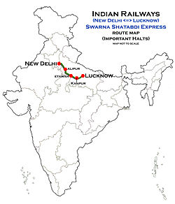 (New Delhi - Lucknow) Swarna Shatabdi Express Route map.jpg