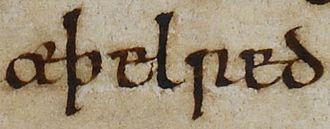 Owain ap Dyfnwal (died 1015) - Image: Æðelræd II (British Library Cotton MS Tiberius B I, folio 152r)