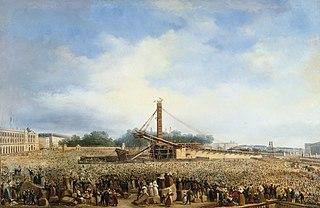 Érection de l'obélisque de Louqsor sur la place de la Concorde, le 25 octobre 1836