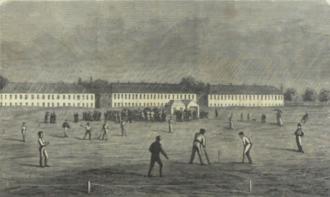 Denmark national cricket team - Cricket match between players from Copenhagen and Jutland on the Eastern Common in Copenhagen 1867