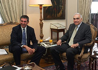 Stavros Lambrinidis - Greek Foreign Minister Lambrinidis with Egyptian Foreign Minister Mohamed Kamel Amr during official 2011 visit to Cairo.