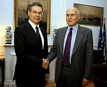 Deputy Foreign Minister of Israel Daniel Ayalon with Foreign Minister Stavros Dimas of Greece in November 2011 Sunantese UPEKs S. Dema me ton UPhUPEKs tou Israel D. Ayalon (22.11.2011).jpg