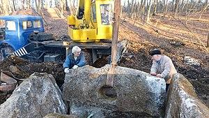 Alexei Rezepkin - Reconstruction of dolmen in Pobeda in 2016 (Alexei Rezepkin right side)