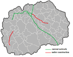 International Airport Skopje, Map of current and planned highways and European route E75 in North Macedonia.
