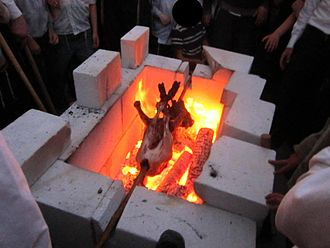 Passover sacrifice - Practice of passover sacrifice by Temple Mount activists in Jerusalem, 2012.