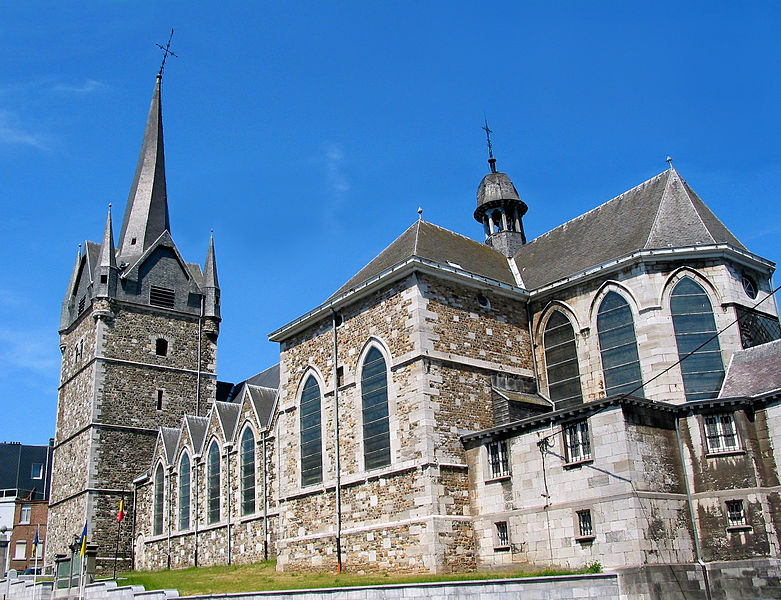 Herve (Belgium), the St-John the baptist church and his grim bell tower.
