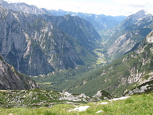 Trenta (valley) - View of the Trenta Valley from the northeast