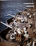 127mm gun battery aboard USS New Mexico (BB-40) off Saipan on 15 June 1944