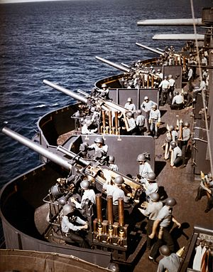 127mm gun battery aboard USS New Mexico (BB-40) off Saipan on 15 June 1944