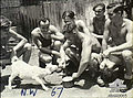 13 Squadron RAAF personnel with goat mascot at Hughes NT Feb 1943 AWM NWA0065.jpg