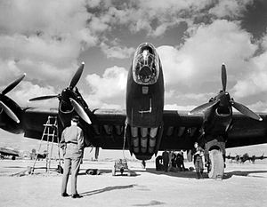 No. 148 Squadron RAF - 148 Squadron Halifax loaded with supplies reading for dropping to Yugoslav Partisans, at Brindisi, Italy