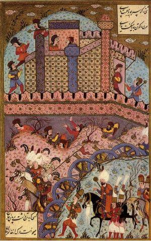 Ottoman Hungary - Ottoman soldiers besiege Estolnibelgrad (probably Székesfehérvár) in Hungary.