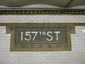 157th Street (IRT Broadway–Seventh Avenue Line) - Original station name mosaic