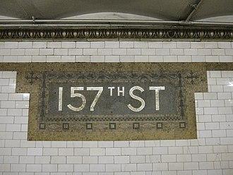 157th Street (IRT Broadway–Seventh Avenue Line) - Original station name mosaic
