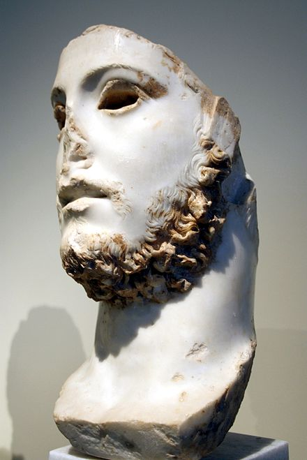 Remnants of a Roman bust of a youth with a blond beard, perhaps depicting emperor Commodus, National Archaeological Museum, Athens 1699 - Archaeological Museum, Athens - A youth, possibly Commodus - Photo by Giovanni Dall'Orto, Nov 11 2009.jpg