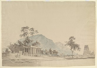 Choultry - A 1792 painting of a Hindu temple and choultry (a travelers' rest house).