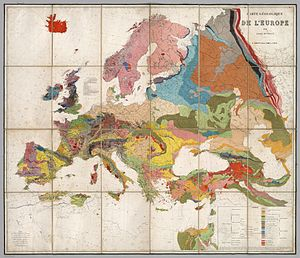 1875 geological map of europe compiled by the belgian geologist andr dumont colors indicate the distribution of different rock types across the continent