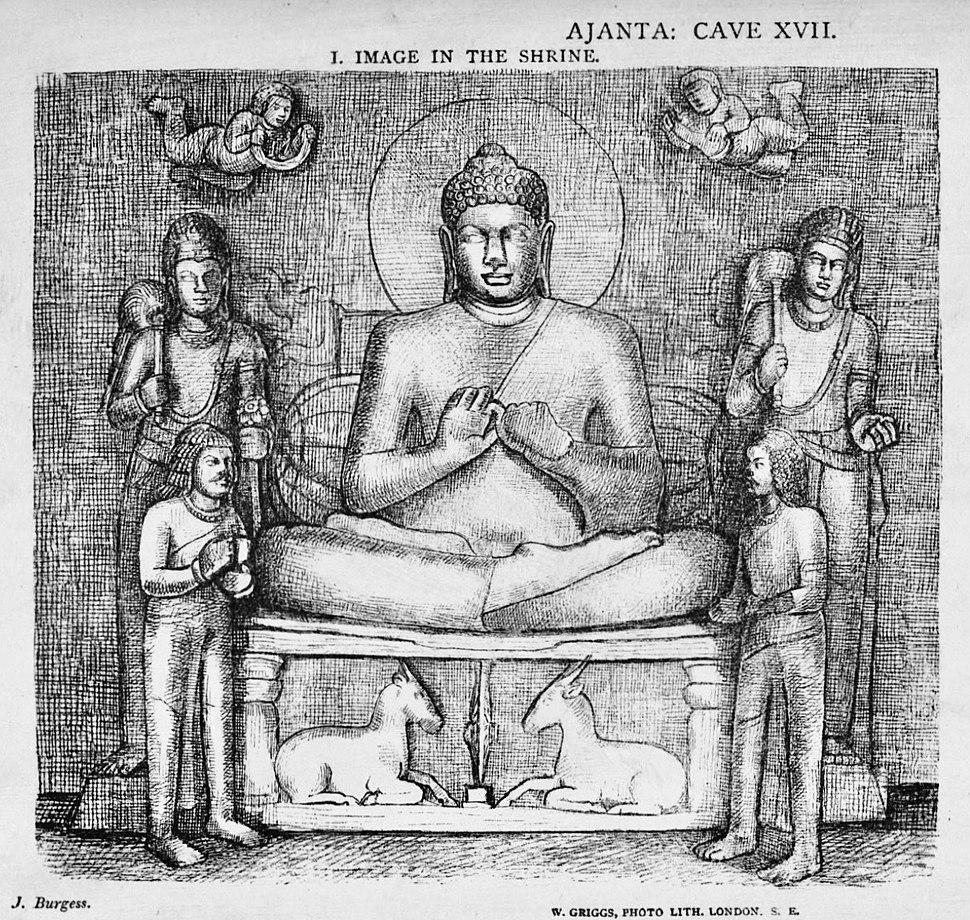 1880 sketch Buddha in sanctum Cave 17 Ajanta Maharashtra India
