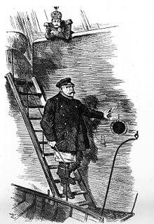 Caricature parue dans le journal anglais le Punch Dropping the Pilot, soit le capitaine descend, où l'on voit Bismarck littéralement descendre d'un bateau de Sir John Tenniel à propos du départ de Bismarck, en 1890.