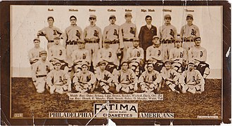 1913 Philadelphia Athletics season - 1913 Fatima baseball card of Philadelphia Athletics