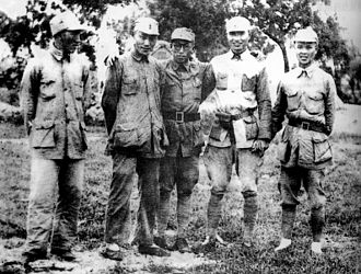 Wei Guoqing - From left: Han Zhenji, Liang Xingchu, Huang Kecheng, Zhang Aiping and Wei Guoqing, marking the meeting of the Fifth Column of the Eighth Route Army and the Northern Jiangsu Command of the New Fourth Army in Dongtai, Jiangsu on October 10, 1940.