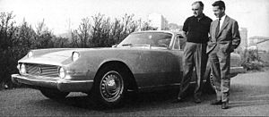 Giovanni Michelotti - Michelotti at right, with Enrico Nardi and the 1960 Plymouth Super Fly.