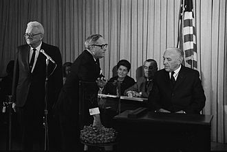 Draft lottery (1969) - Representative Alexander Pirnie (R-NY) drawing the first number.