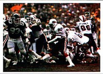 1981–82 NFL playoffs - Bills' running back Joe Cribbs (middle) rushes the ball against the Jets in the 1981 AFC Wild Card game.