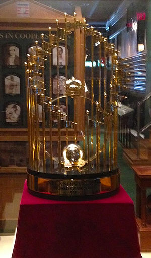 Ted Turner - The Commissioner's Trophy given to the Atlanta Braves—owned at the time by Turner—for winning the 1995 World Series (shown on display at Turner Field—named for Turner—the Braves' home ballpark)