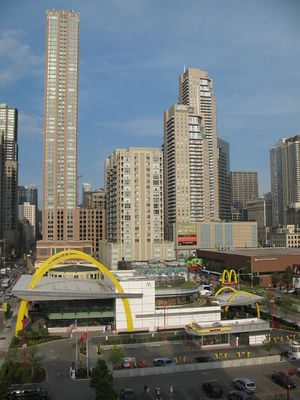 Drive-through - McDonald's first two-lane drive-through was at the Rock N Roll McDonald's in Chicago.