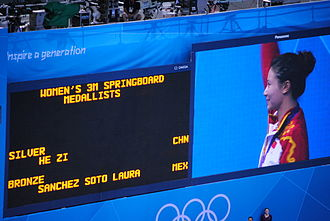 He Zi - He during the victory ceremony for women's 3 metre springboard at the 2012 Summer Olympics.