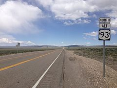 2014-05-21 13 50 19 Sign on Alternate U.S. Route 93 northbound just north of U.S. Route 93 in Lages Junction, Nevada.JPG