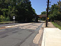 2014-08-27 13 00 42 View west along Parkway Avenue (Mercer County Route 634) near the Delaware and Bound Brook Railroad underpass, with concrete pavement likely dating to the 1950s.JPG