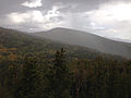 2014-09-15 14 14 58 View northeast from the Bristlecone Trail and the Glacier Trail during a thundershower in Great Basin National Park, Nevada.JPG