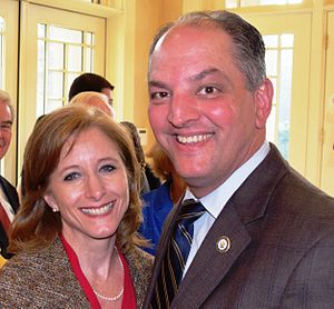 John Bel Edwards - John Bel Edwards and his wife, Donna Hutto Edwards, at a fundraising event in 2015.