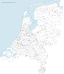 خريطة ببلديات هولندا بعد عمليات الدمج 1 يناير 2016.