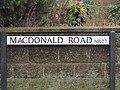 2018-03-31 Street name sign, MacDonald Road, Cromer.JPG