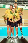 211000 - Cycling track Matthew Gray Greg Ball Paul Lake gold podium 2 - 3b - 2000 Sydney podium photo.jpg