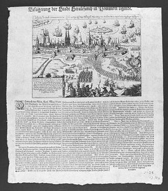 "Heinrich Holk - Contemporary leaflet describing the Battle of Stralsund (1628). Holk is mentioned as ""Obrist Holky""."