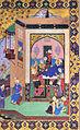 2 Qasim Ali, Youssof entre à la réception de Zoleykhâ, Panj Ganj, 1521-22, Palais du Golestân, Iran.jpg
