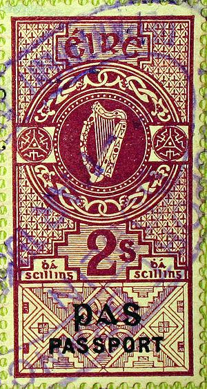 Revenue stamps of Ireland - A 1925 Passport stamp.