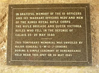 Queen Victoria's Rifles - 30 Brigade memorial plaque inside the gatehouse of Calais Citadel, scene of the epic defence in May 1940.