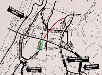 New York State Route 895 - A 1964 highway map showing the completed portion of the expressway (green), and the unbuilt extension (red).