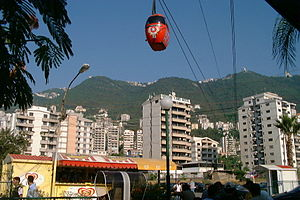 Gondola lift - The téléphérique in Jounieh, Lebanon takes passengers to the Our Lady of Lebanon shrine