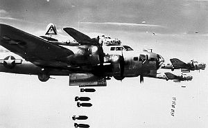 RAF Grafton Underwood - B-17s of the 384th Bomb Group on a bomb run.