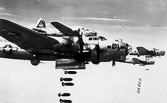 RAF Grafton Underwood - B-17s of the 384th Bomb Group on a bomb run.