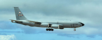 434th Operations Group - Boeing KC-135R Stratotanker 61-0272 from the 434th Air Refueling Wing lowers its gear as it prepares to land.