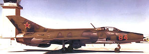 "Tonopah Test Range Airport - ""Red 84"" MiG-21F-13 taxiing past the control tower, 1986"