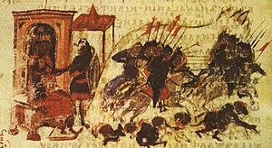 Umar II - The Second Arab Siege of Constantinople, as depicted in the 14th-century Bulgarian translation of the Manasses Chronicle.
